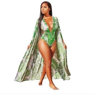 Other - Bamboo Print Swimsuit w/ Matching Coverup